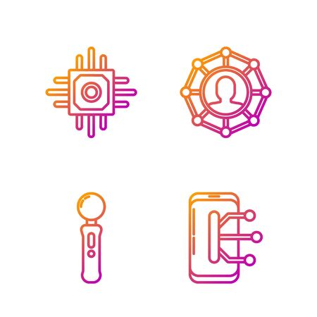 Set line Smartphone, mobile phone, Gamepad, Processor and Project team base. Gradient color icons. Vector Иллюстрация