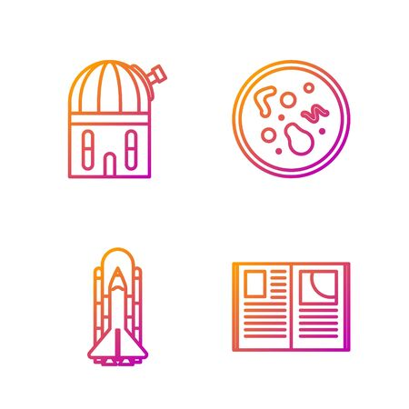 Set line Open book, Space shuttle and rockets, Astronomical observatory and Bacteria. Gradient color icons. Vector Archivio Fotografico - 138435977