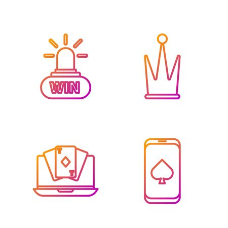 Set line Online poker table game, Online poker table game, Casino win and Crown. Gradient color icons. Vector Illustration