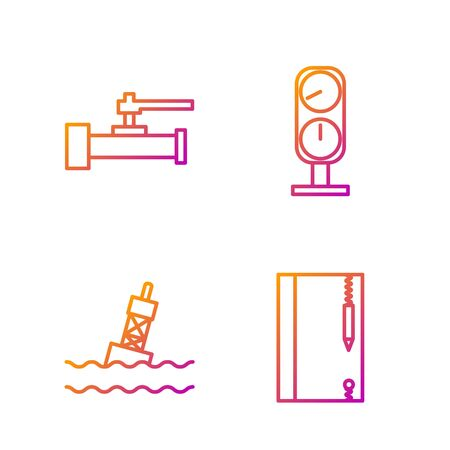 Set line Underwater note book and pencil, Floating buoy on the sea, Industry metallic pipes and valve and Gauge scale. Gradient color icons. Vector