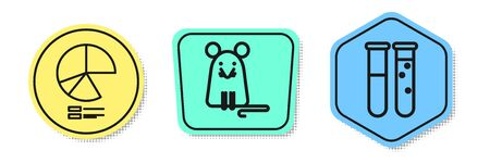 Set line Pie chart infographic, Rat and Test tube and flask chemical laboratory. Colored shapes. Vector  イラスト・ベクター素材