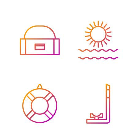 Set line Snorkel, Lifebuoy, Case or box container for wobbler and Sun and waves. Gradient color icons. Vector