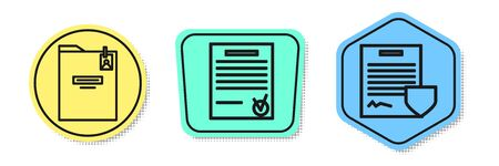Set line Personal folder, Confirmed document and check mark and Contract with shield. Colored shapes. Vector