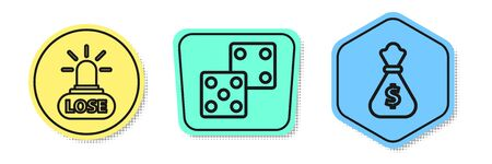Set line Casino losing, Game dice and Money bag. Colored shapes. Vector Illustration