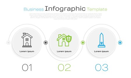 Set line Home symbol, House with shield and Washington monument. Business infographic template. Vector 일러스트