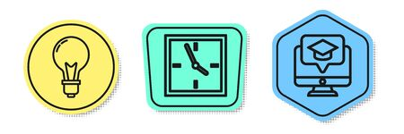 Set line Light bulb with concept of idea, Clock and Monitor with graduation cap. Colored shapes. Vector
