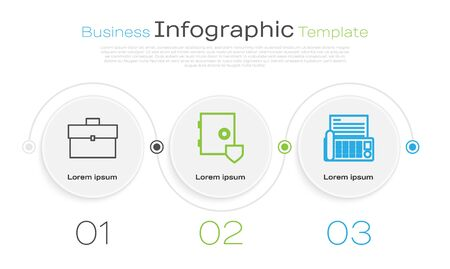 Set line Briefcase, Safe with shield and Fax machine. Business infographic template. Vector