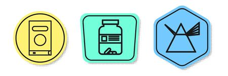 Set line Book, Medicine bottle and pills and Light rays in prism. Colored shapes. Vector Ilustracja