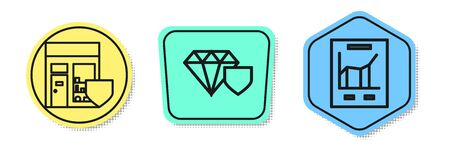 Set line Shopping building with shield, Diamond with shield and Document with graph chart. Colored shapes. Vector