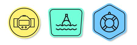 Set line Diving watch, Floating buoy on the sea and Lifebuoy. Colored shapes. Vector