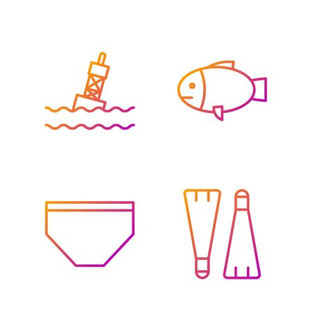 Set line Rubber flippers for swimming, Swimming trunks, Floating buoy on the sea and Fish. Gradient color icons. Vector Ilustração