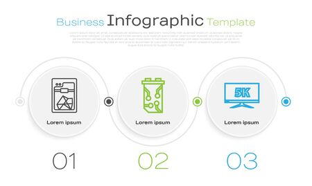 Set line 3D printer, Video graphic card and Monitor display with 5k video. Business infographic template. Vector