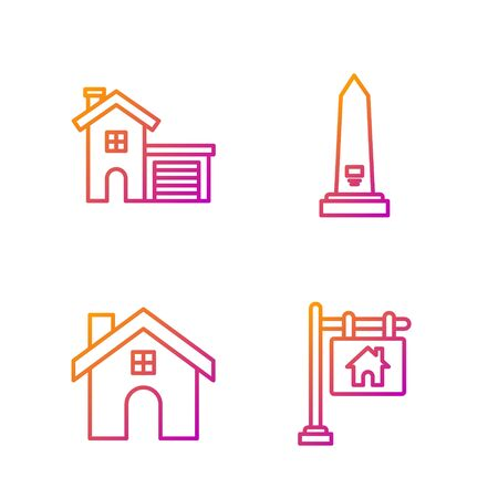 Set line Hanging sign with text Sale, House, House and Washington monument. Gradient color icons. Vector 일러스트