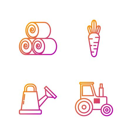 Set line Tractor, Watering can, Roll of hay and Carrot. Gradient color icons. Vector Ilustracja