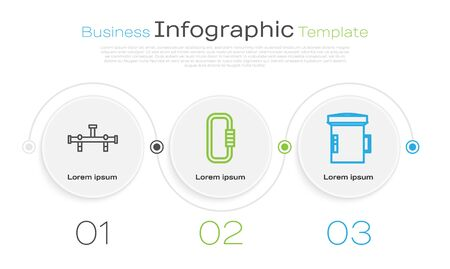Set line Manifold, Carabiner and Big flashlight for diver. Business infographic template. Vector