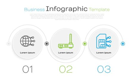 Set line Global technology or social network, Router and wireless signal and Sim card. Business infographic template. Vector Illusztráció