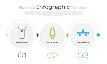 Set line Flashlight, Carabiner and Manifold. Business infographic template. Vector