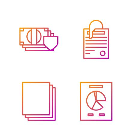 Set line Document with graph chart, Clean paper, Money with shield and File document and paper clip. Gradient color icons. Vector Stock fotó - 138436176