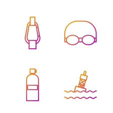 Set line Floating buoy on the sea, Aqualung, Carabiner and Glasses and cap for swimming. Gradient color icons. Vector