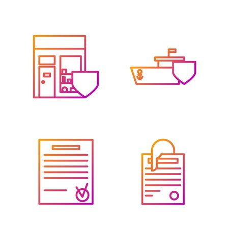 Set line File document and paper clip, Confirmed document and check mark, Shopping building with shield and Ship with shield. Gradient color icons. Vector Illusztráció