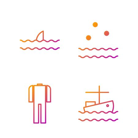Set line Fishing boat on water, Wetsuit for scuba diving, Shark fin in ocean wave and Cold and waves. Gradient color icons. Vector Archivio Fotografico - 138436178