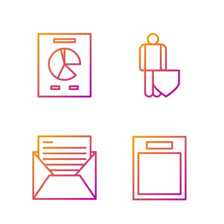 Set line Empty form, Mail and e-mail, Document with graph chart and Life insurance with shield. Gradient color icons. Vector Illusztráció