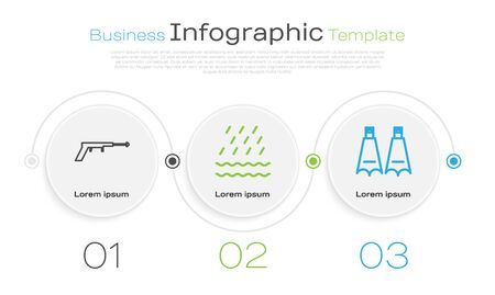Set line Fishing harpoon, Rain and waves and Rubber flippers for swimming. Business infographic template. Vector Banque d'images - 138435599