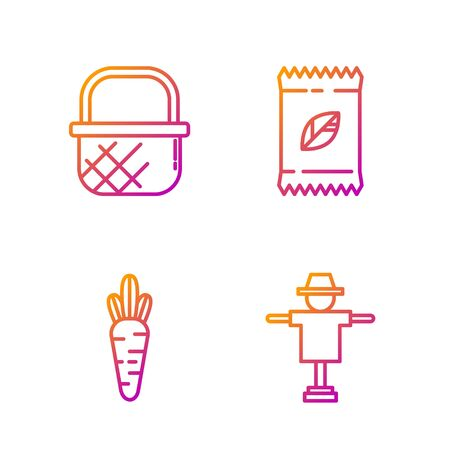Set line Scarecrow, Carrot, Shopping basket and A pack full of seeds of a specific plant. Gradient color icons. Vector Ilustracja