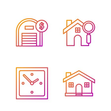 Set line House, Clock, Warehouse with dollar symbol and Search house. Gradient color icons. Vector