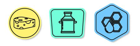 Set line Cheese, Can container for milk and Honeycomb. Colored shapes. Vector