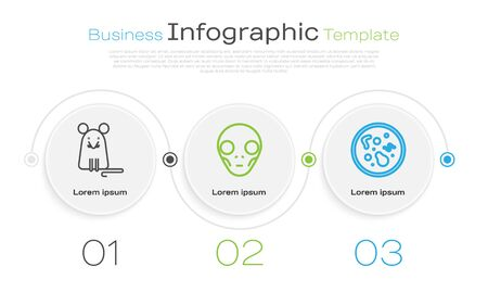 Set line Rat, Extraterrestrial alien face and Bacteria. Business infographic template. Vector
