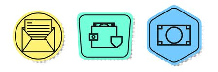 Set line Mail and e-mail, Wallet and money with shield and Stacks paper money cash. Colored shapes. Vector