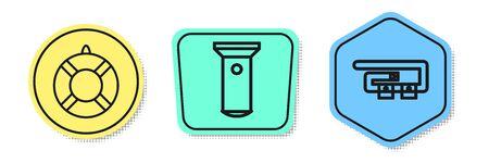 Set line Lifebuoy, Flashlight and Diving belt. Colored shapes. Vector Ilustração