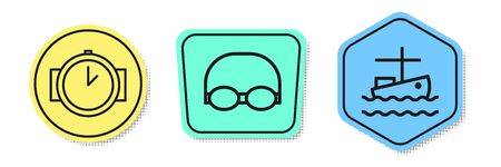 Set line Diving watch, Glasses and cap for swimming and Fishing boat on water. Colored shapes. Vector Archivio Fotografico - 138436304