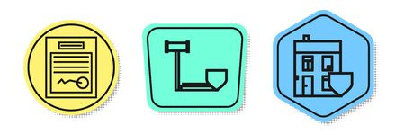Set line Filled form, Judge gavel with shield and House with shield. Colored shapes. Vector