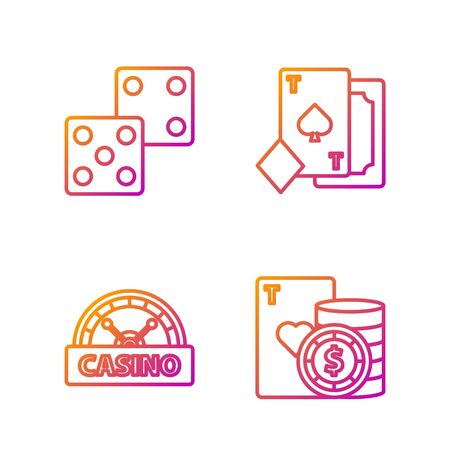 Set line Casino chip and playing cards, Casino signboard, Game dice and Playing card with spades. Gradient color icons. Vector
