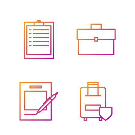 Set line Traveling baggage insurance, Blank notebook and pen, Clipboard with checklist and Briefcase. Gradient color icons. Vector Stock fotó - 138436331