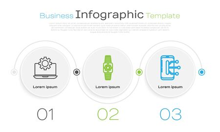 Set line Laptop and gear, Smartwatch and Smartphone, mobile phone. Business infographic template. Vector