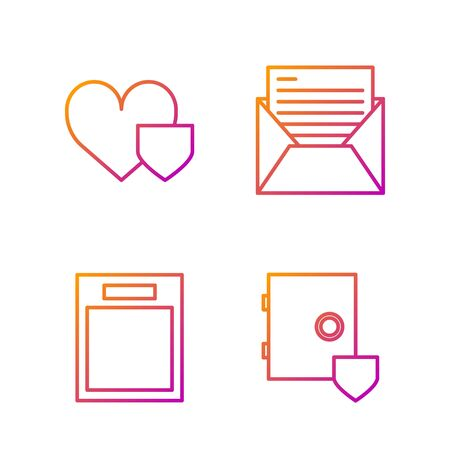 Set line Safe with shield, Empty form, Heart with shield and Mail and e-mail. Gradient color icons. Vector Stock fotó - 138436137
