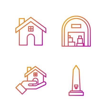 Set line Washington monument, House and Warehouse. Gradient color icons. Vector 일러스트