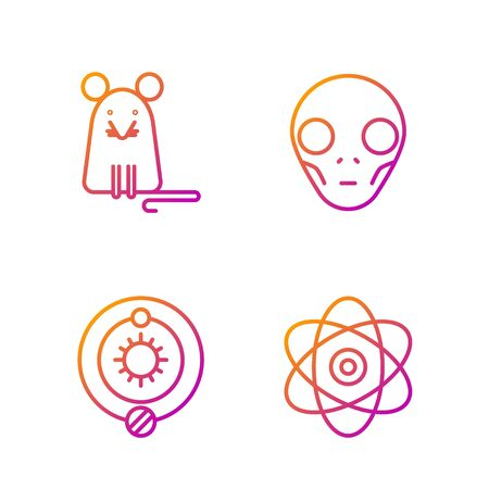 Set line Atom, Solar system, Rat and Extraterrestrial alien face. Gradient color icons. Vector Illusztráció
