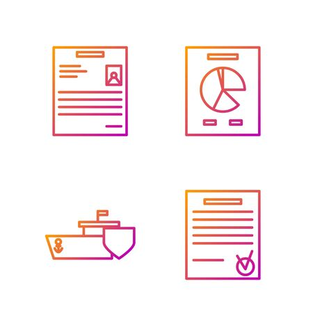 Set line Confirmed document and check mark, Ship with shield, Personal document and Document with graph chart. Gradient color icons. Vector Stock fotó - 138436418