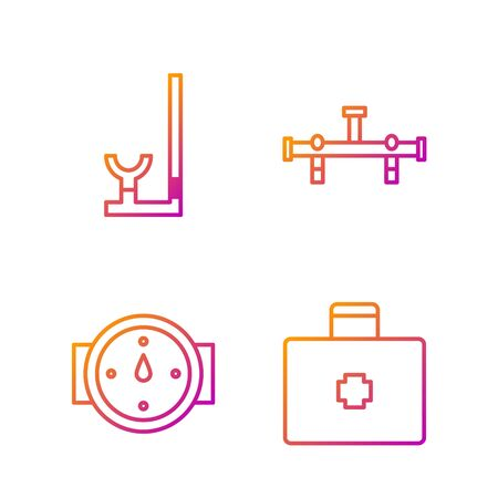 Set line First aid kit, Wind rose, Snorkel and Manifold. Gradient color icons. Vector
