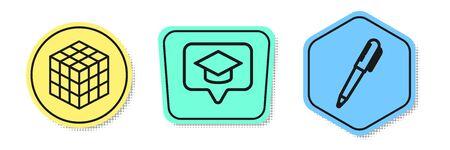 Set line Rubik cube, Graduation cap in speech bubble and Pen. Colored shapes. Vector