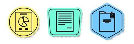 Set line Document with graph chart, Document and Personal folder. Colored shapes. Vector Stock fotó - 138436199