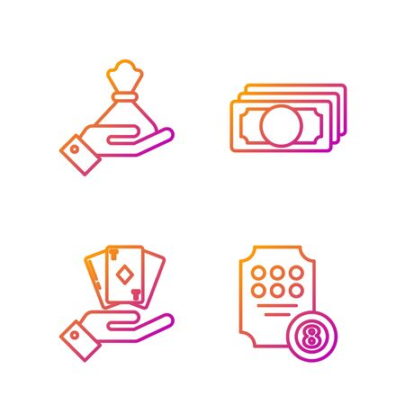 Set line Online slot machine, Hand holding deck of playing cards, Hand holding money bag and Stacks paper money cash. Gradient color icons. Vector