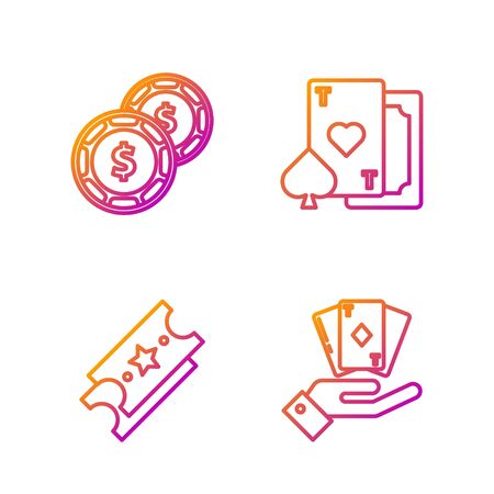 Set line Hand holding deck of playing cards, Lottery ticket, Casino chip with dollar and Playing card with heart. Gradient color icons. Vector