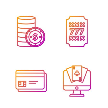 Set line Online poker table game, Credit card, Casino chip with dollar and Slot machine with lucky sevens jackpot. Gradient color icons. Vector Illustration