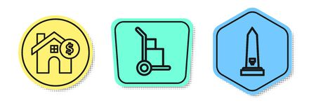 Set line House with dollar symbol, Hand truck and boxes and Washington monument. Colored shapes. Vector