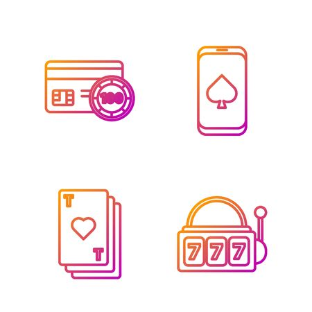 Set line Slot machine with lucky sevens jackpot, Playing card with heart, Credit card and Online poker table game. Gradient color icons. Vector Illustration